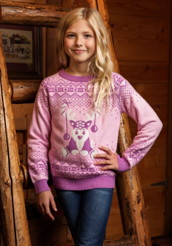 Girls Pink Reindeer Sweater