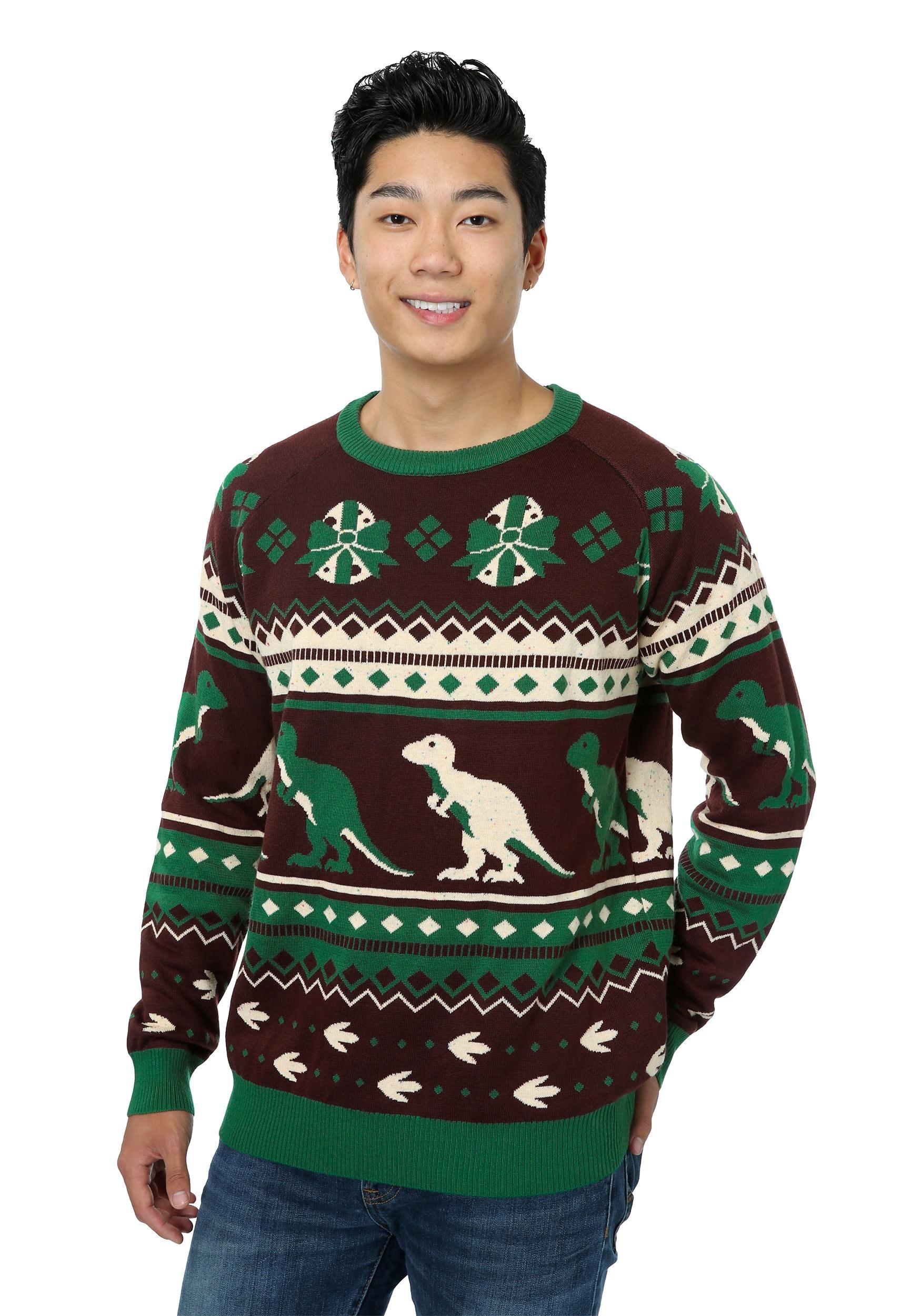 mens holiday dinosaur sweater