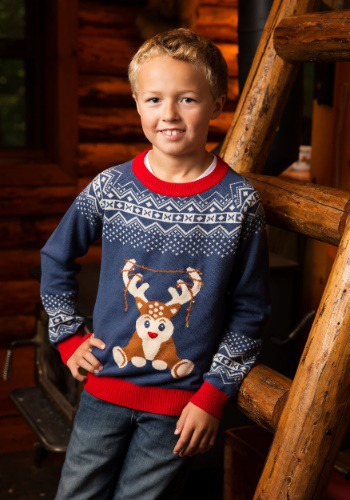 Boy's Reindeer LED Light Up Ugly Christmas Sweater