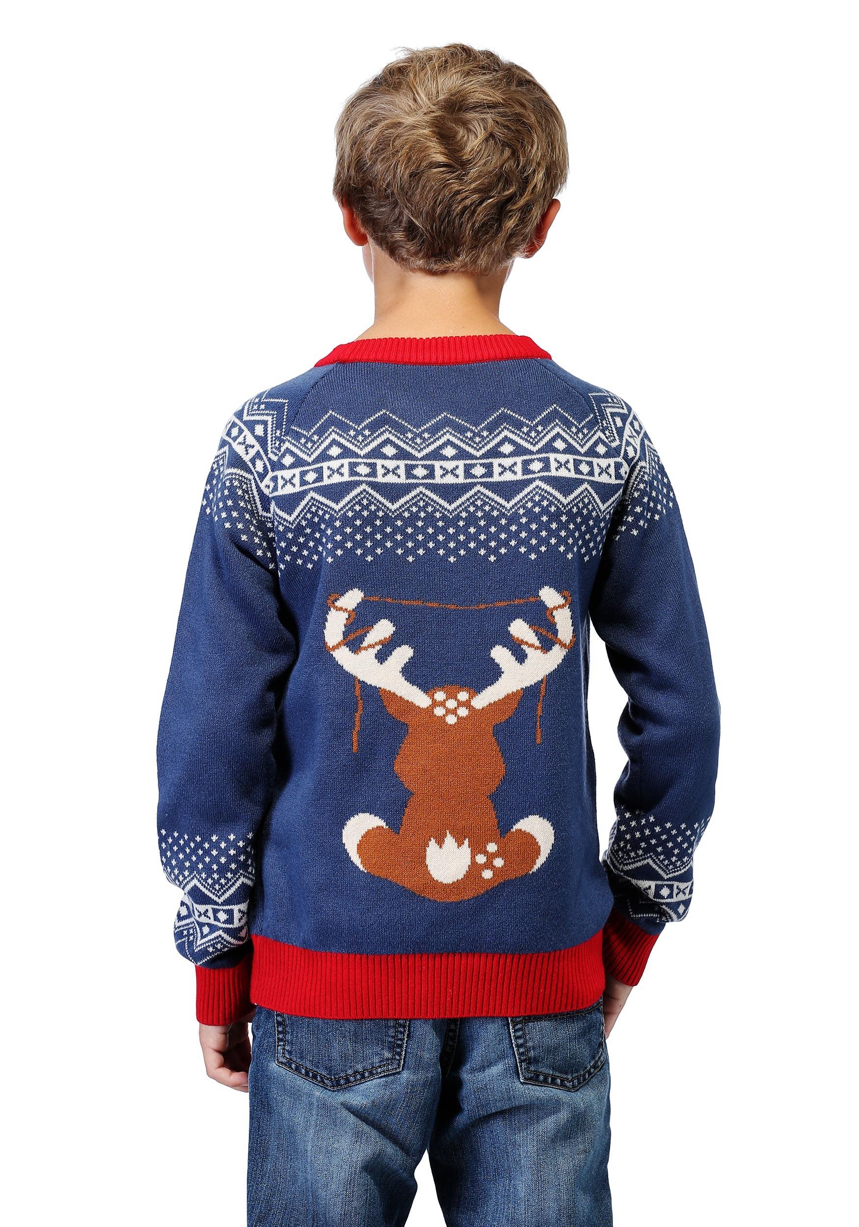 Light Up Christmas Sweater.Boy S Reindeer Led Light Up Ugly Christmas Sweater