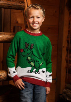 Boys Reindeer Dinosaur Ugly Christmas Sweater