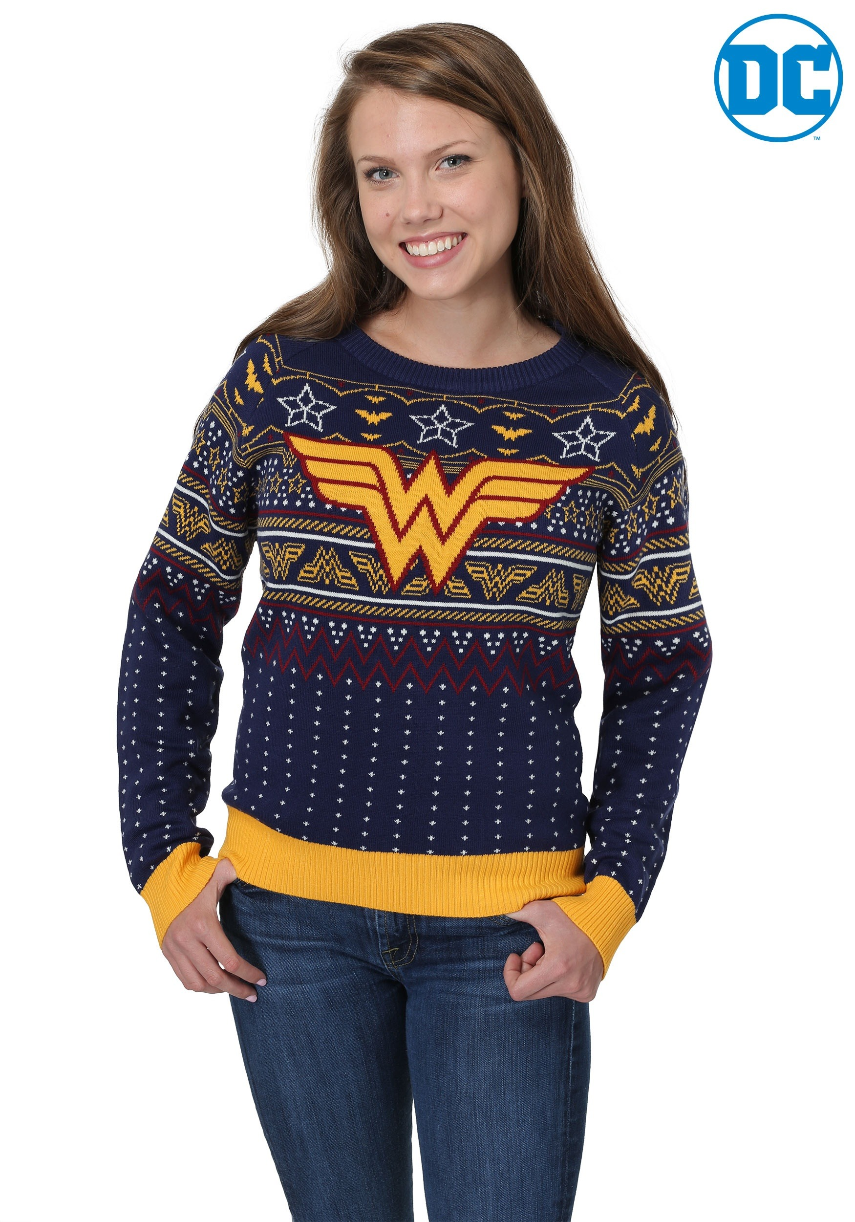 wonder woman navy womens holiday sweater