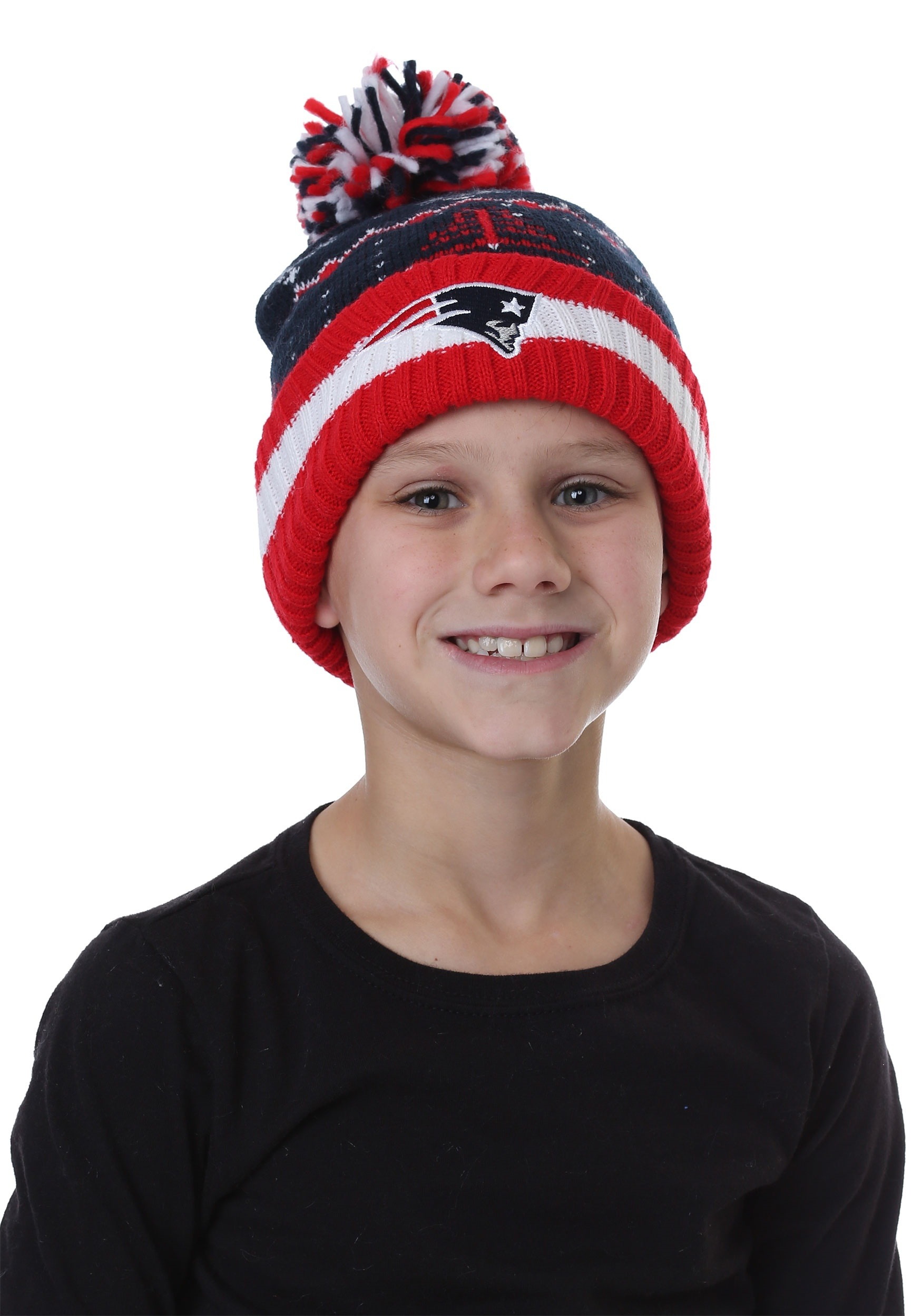 Patriots Cuffed Knit Hat with Pompom for Kids dda59d6a3