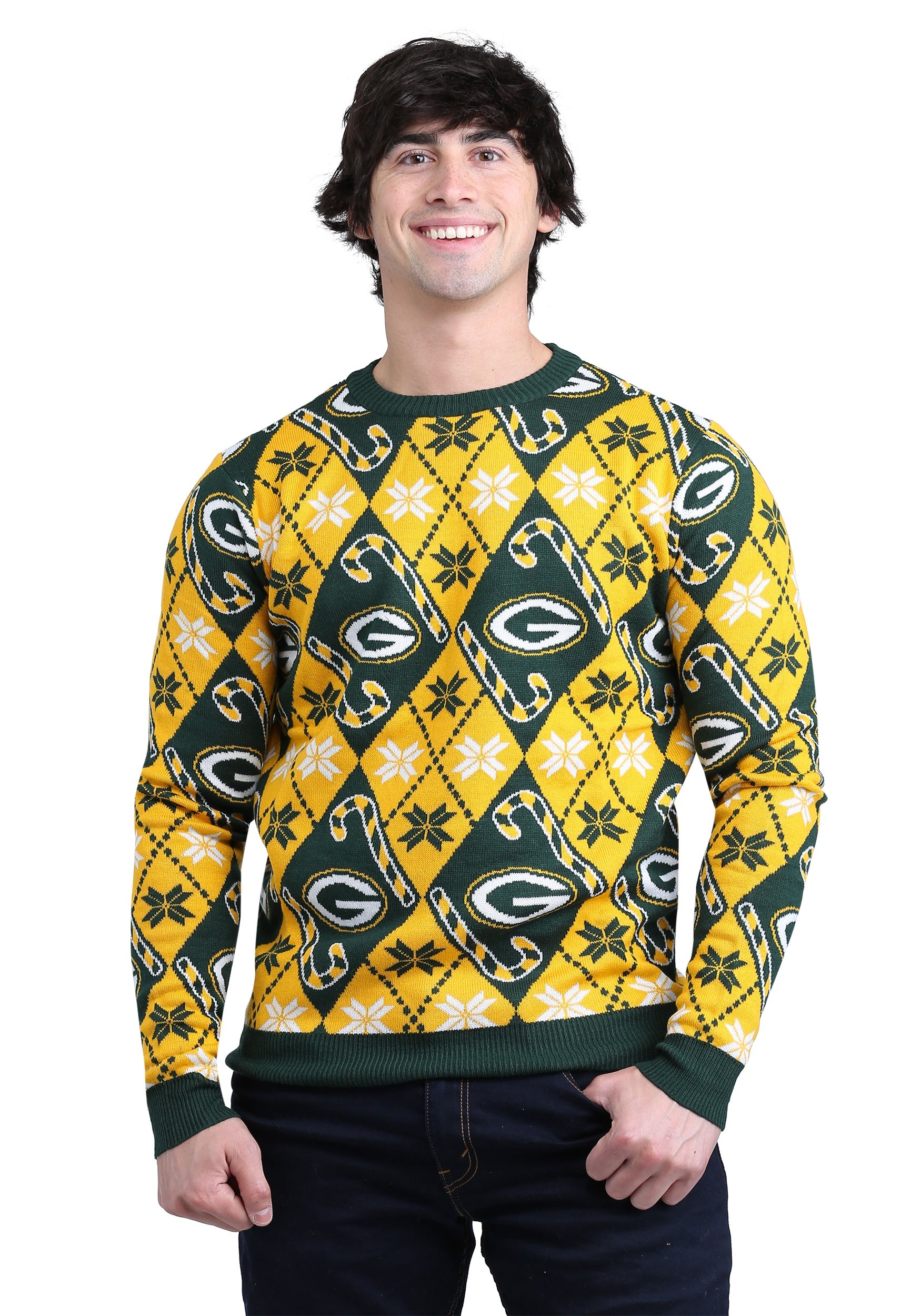 pretty nice 120a6 b93fd Green Bay Packers Candy Cane Ugly Christmas Sweater