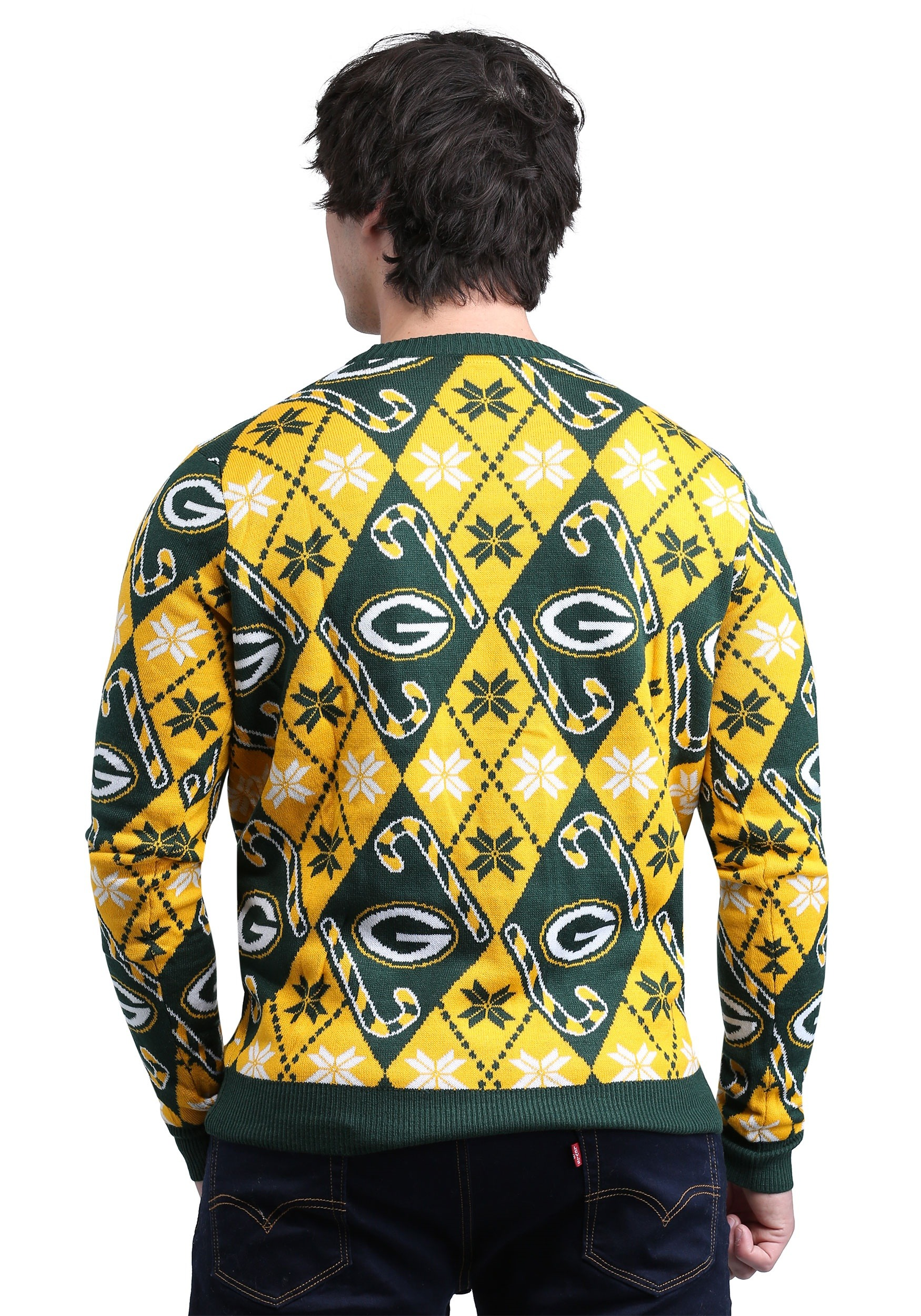 Green Bay Packers Candy Cane Ugly Christmas Sweater
