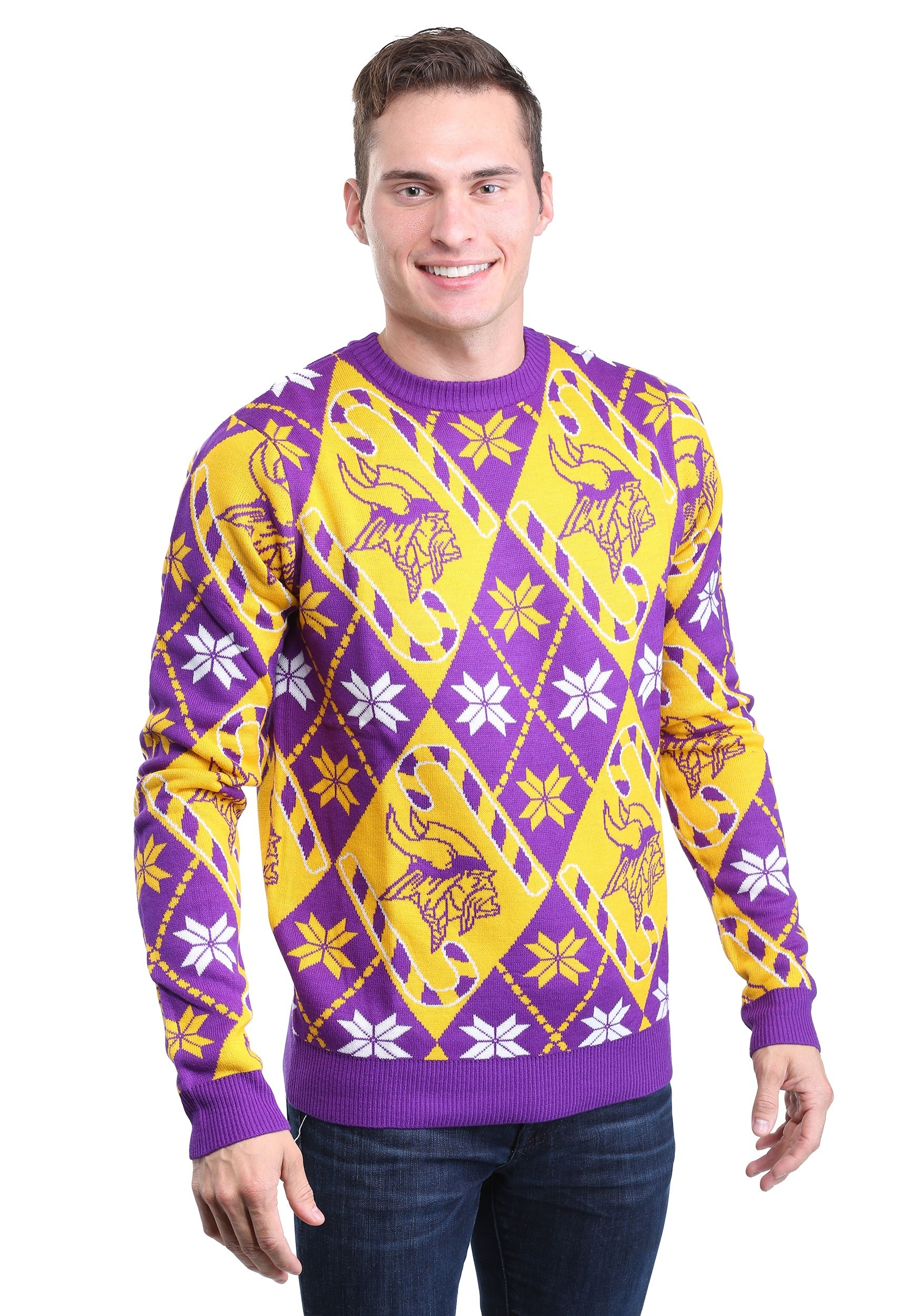 the latest 663d1 73236 Minnesota Vikings Candy Cane Ugly Christmas Sweater
