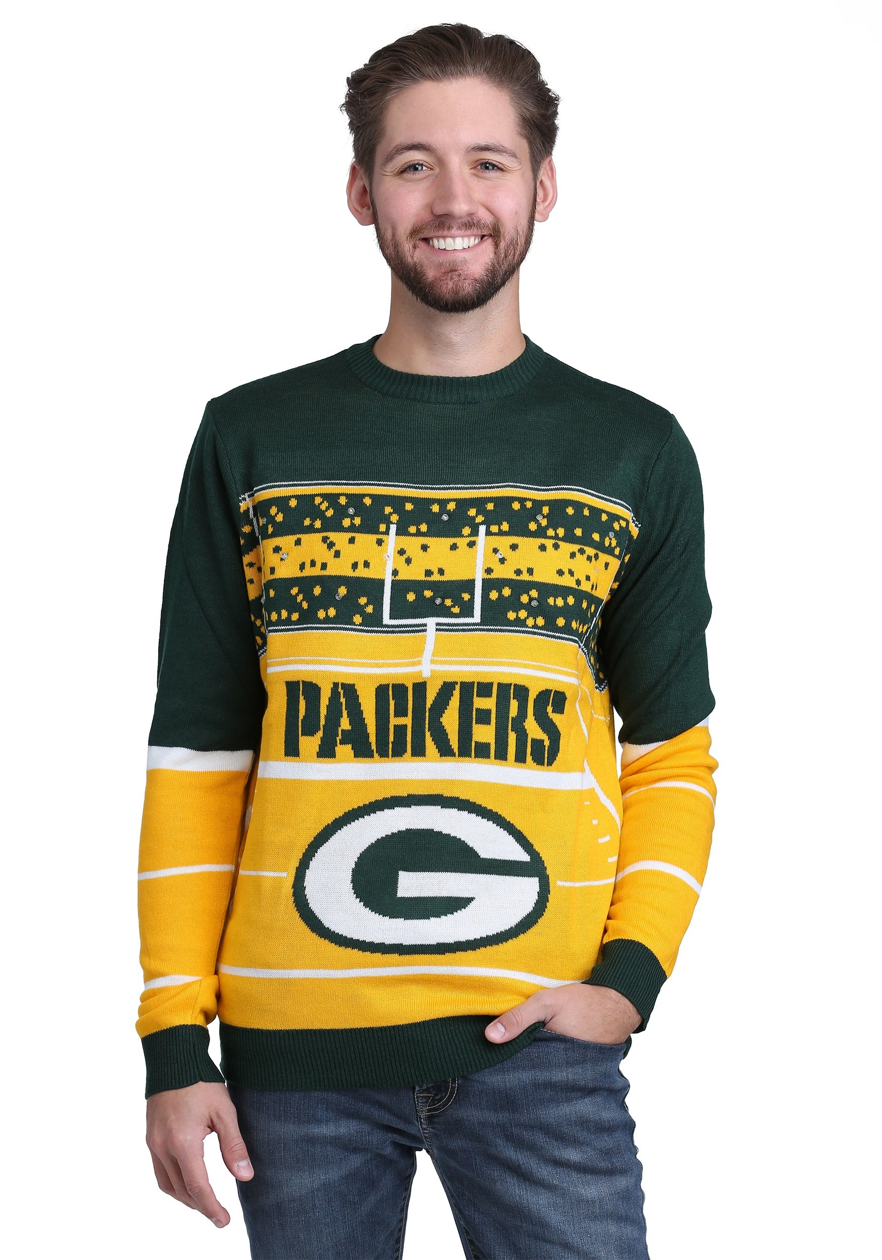 Green Bay Packers Stadium Light Up Ugly X Mas Sweater