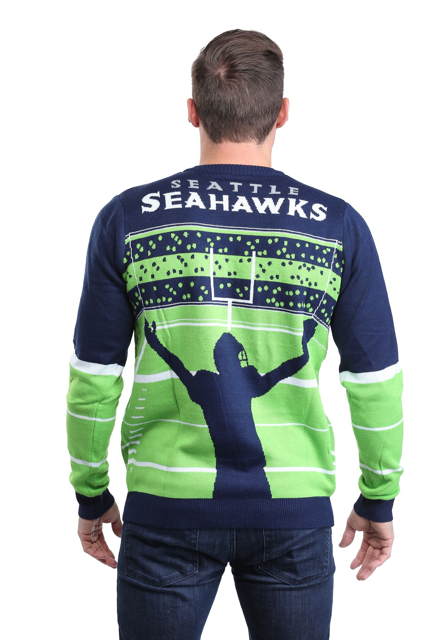 big sale 36391 05494 Seattle Seahawks Stadium Light Up Ugly Xmas Sweater