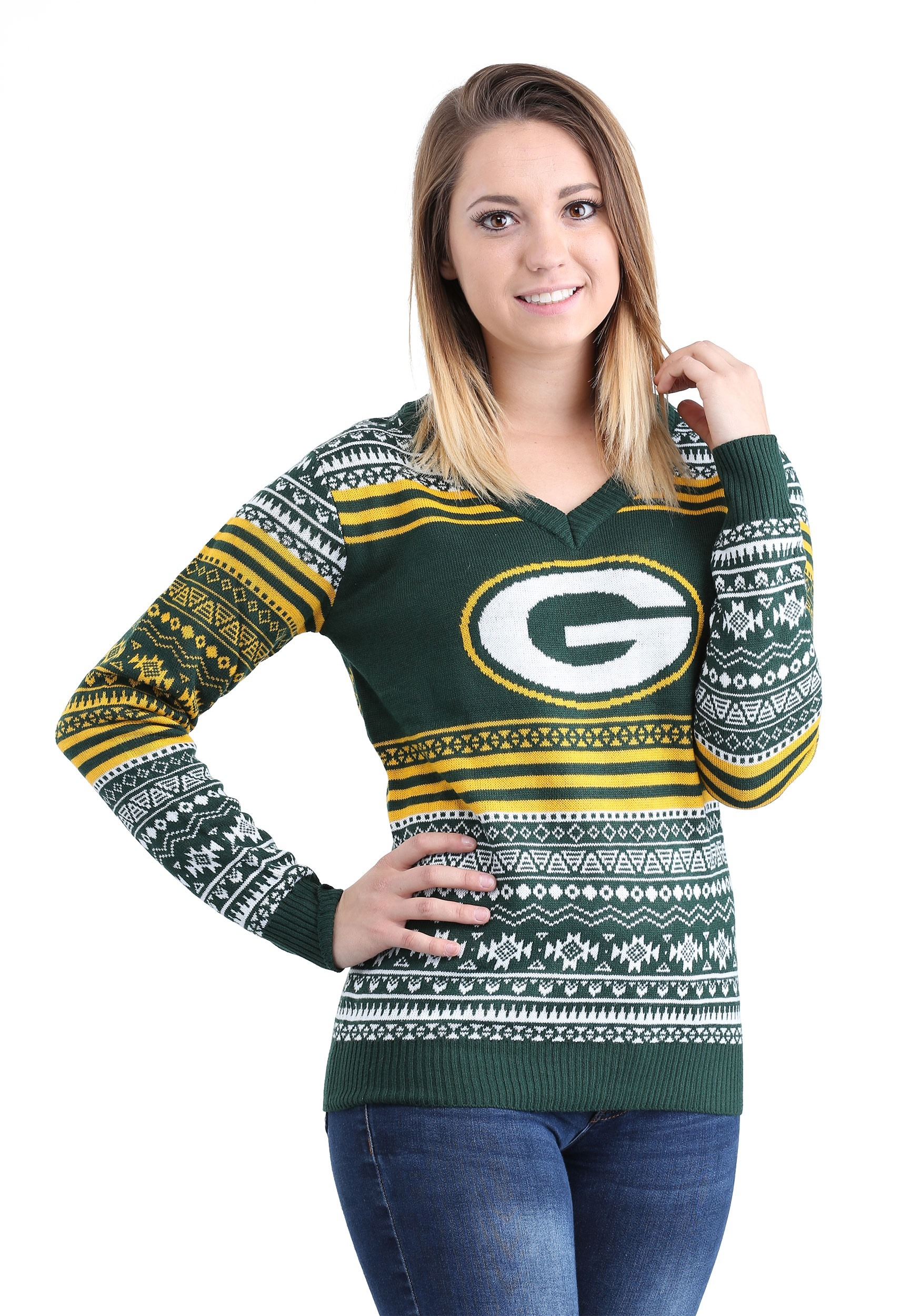 buy popular 8f1d4 779e1 Green Bay Packers Big Logo Aztec Ugly Christmas Sweater