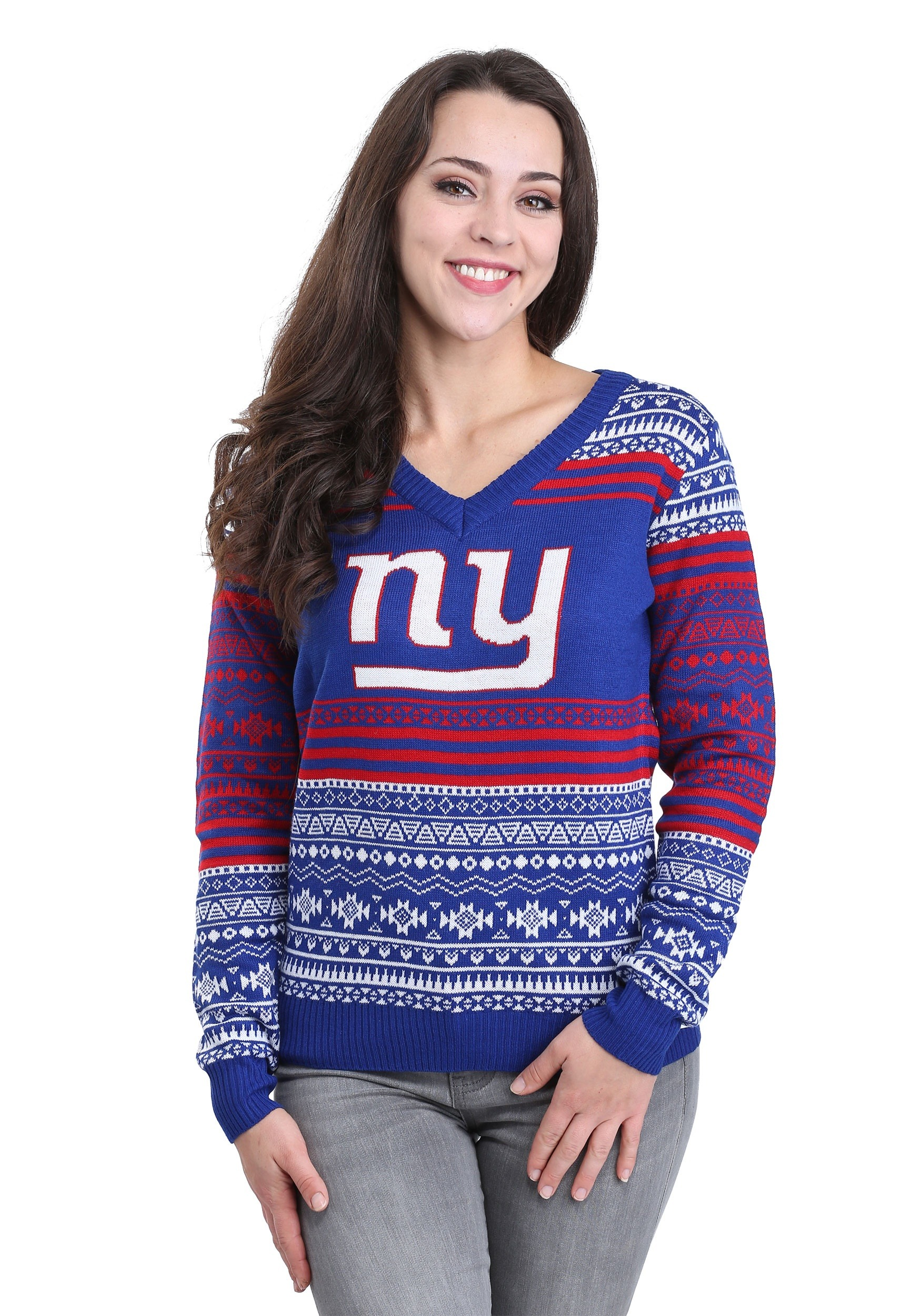 01833395 New York Giants Big Logo Aztec Ugly Christmas Sweater