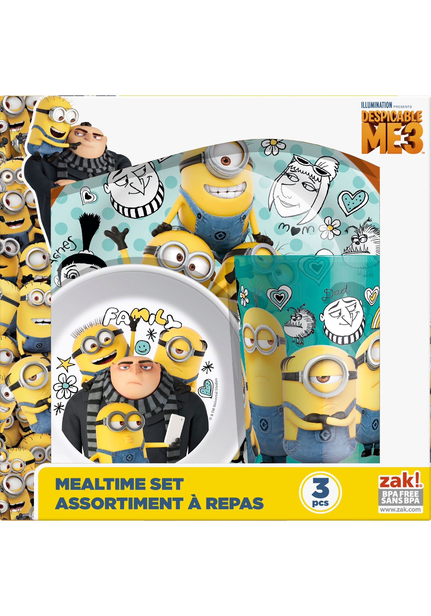 Despicable Me 3 Pc Dinnerware Set ZKDESD-0391-B