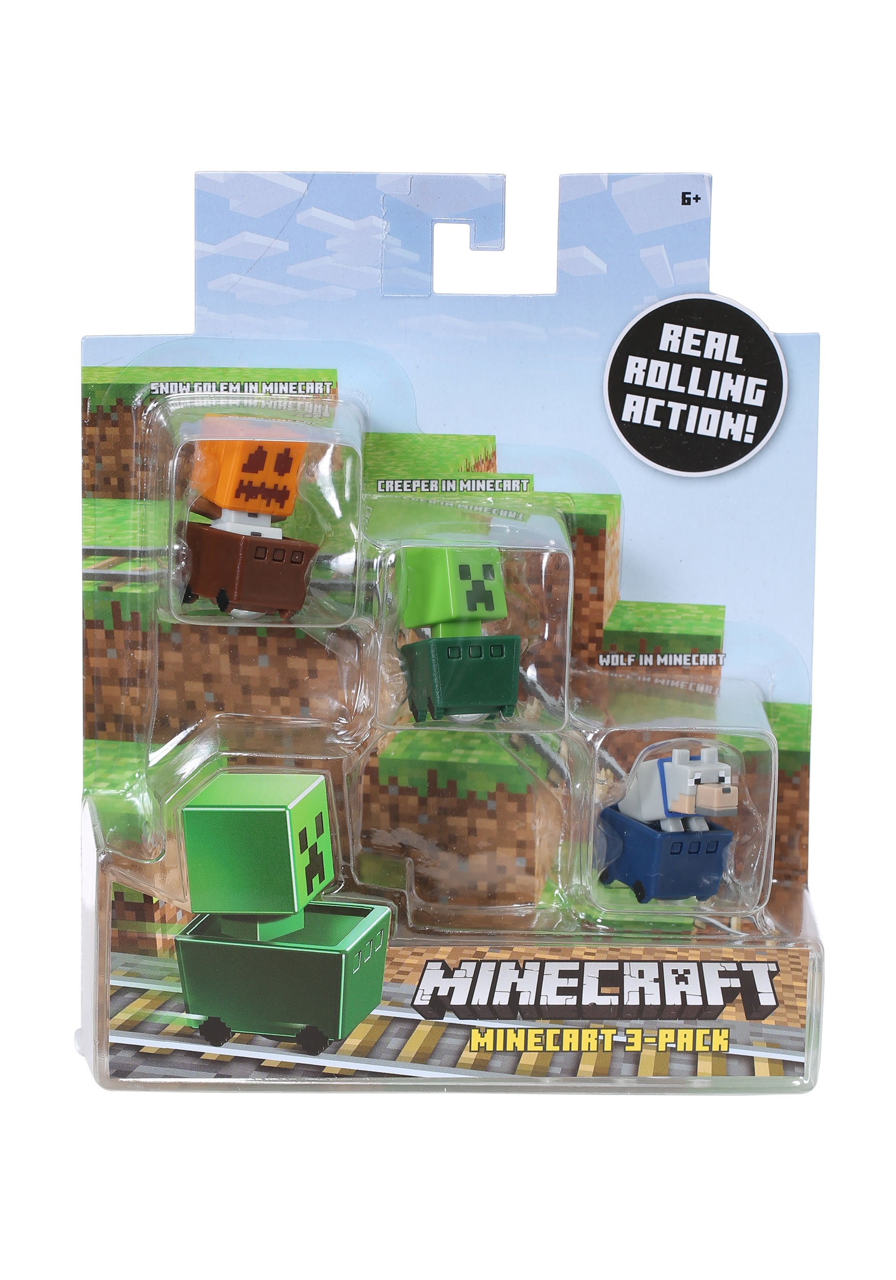 Minecraft Snow Golem, Creeper, Wolf 3 Pack Figure Set MLFFK79