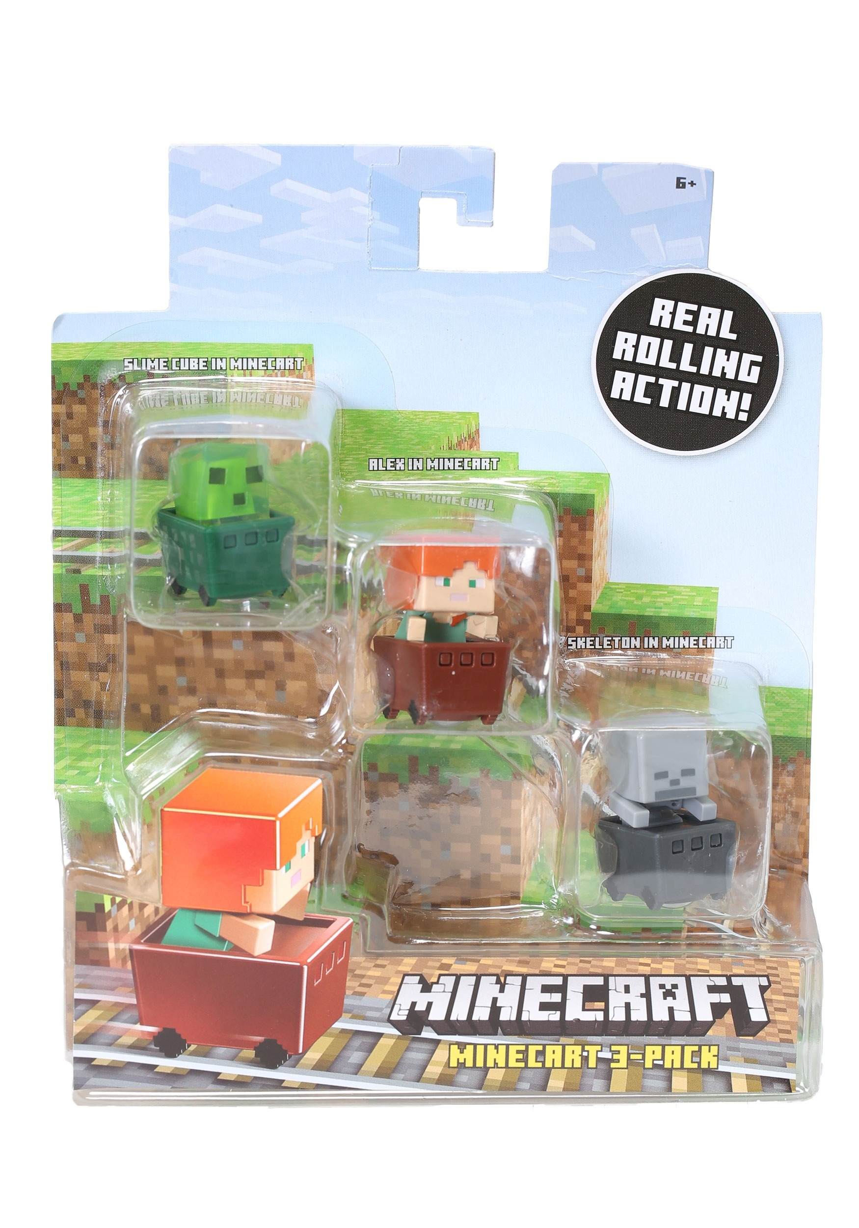 Minecraft Slime Cube, Alex, Skeleton Figure 3 Pack MLFFK78