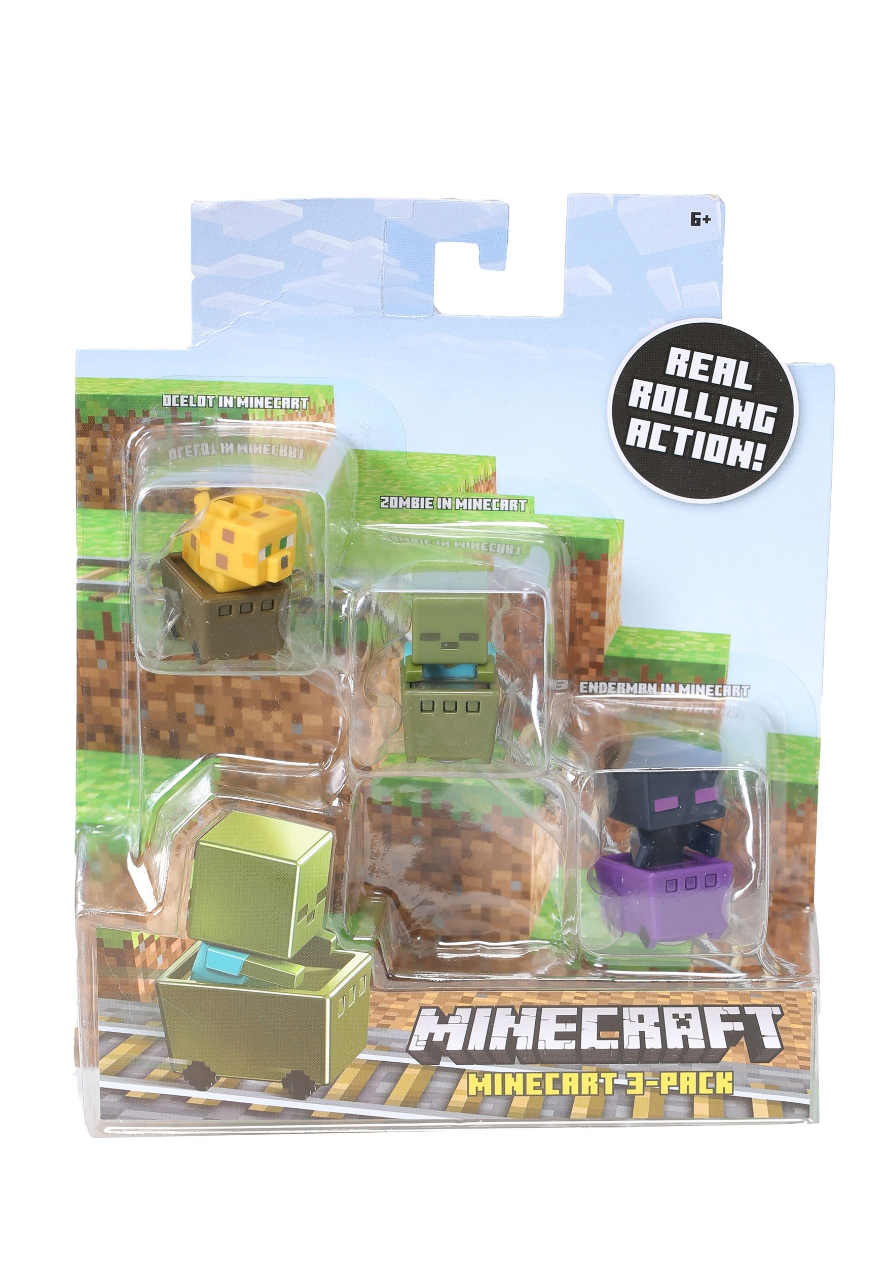 Minecraft Zombie Pigman, Diamond Steve, Mooshroom Figure Set MLFFK77
