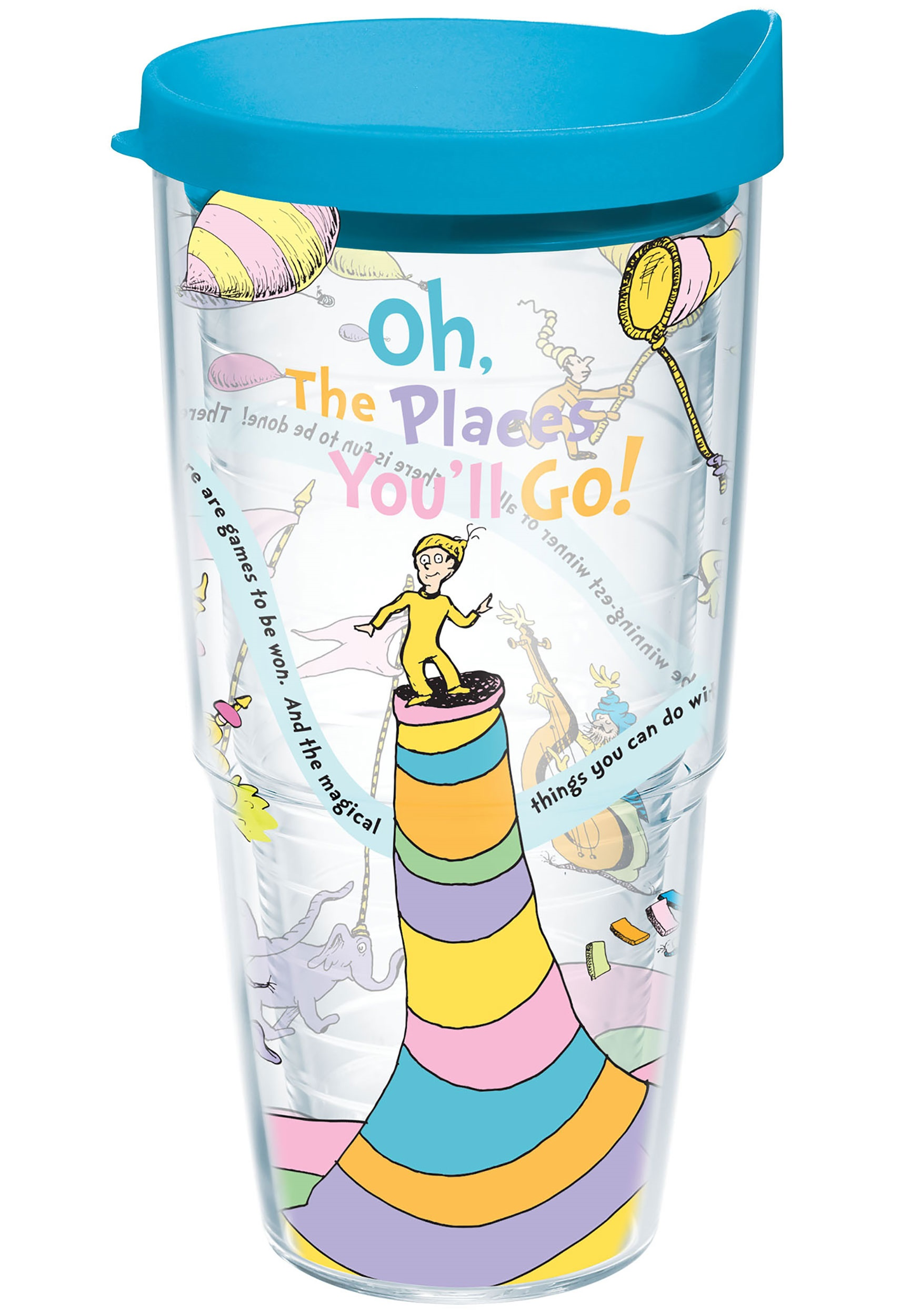 Dr. Seuss Oh the Places You'll Go 24 oz Tumbler w/ Blue Lid TER1131383