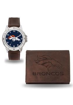 NFL Broncos Brown Watch and Wallet Set