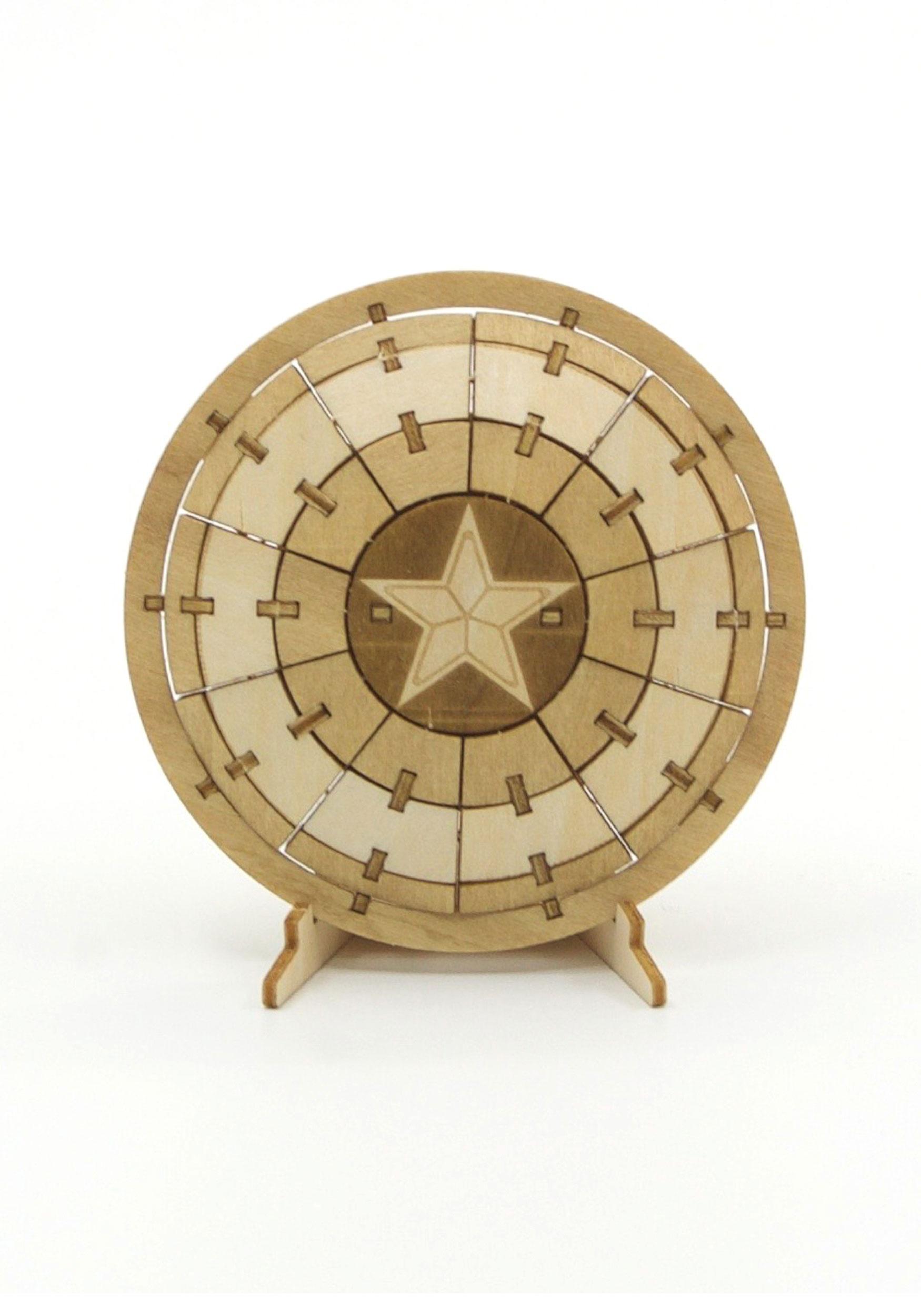 Captain America Shield 3d Wood Model Booklet