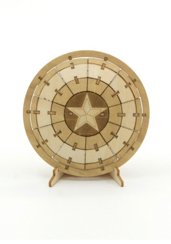 Captain America Shield 3D Wood Model & Booklet