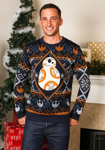 ADULT STAR WARS BB8 SEASONAL NAVY SWEATER