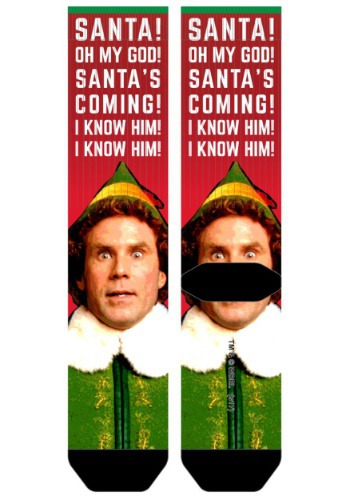 Elf Santa I Know Him Men's Sublimated Socks