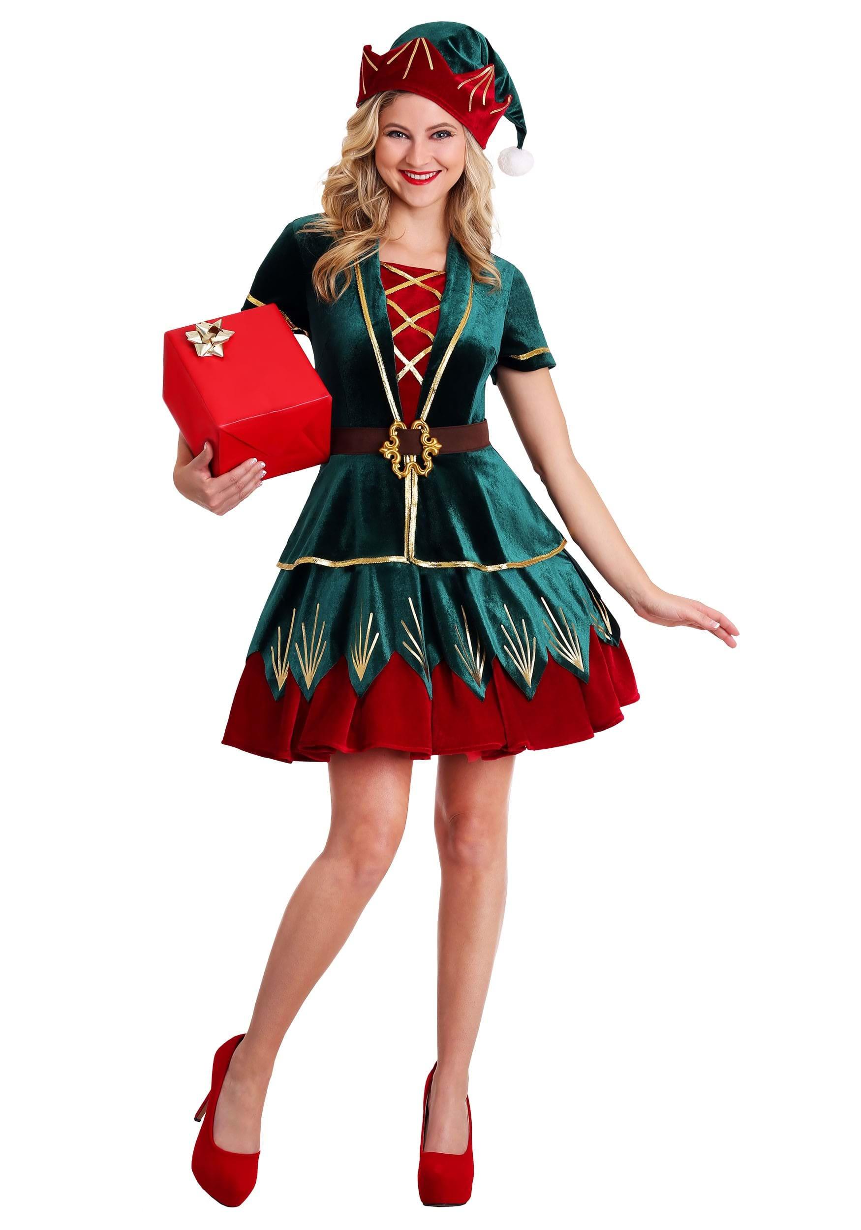 Ladies Deluxe Holiday Elf Costume