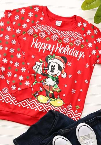 Mickey Mouse Happy Holidays Juniors Light Up Sweatshirt FZMYSJBF8-L