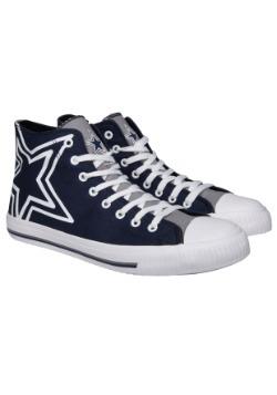 Dallas Cowboys High Top Big Logo Canvas Shoes