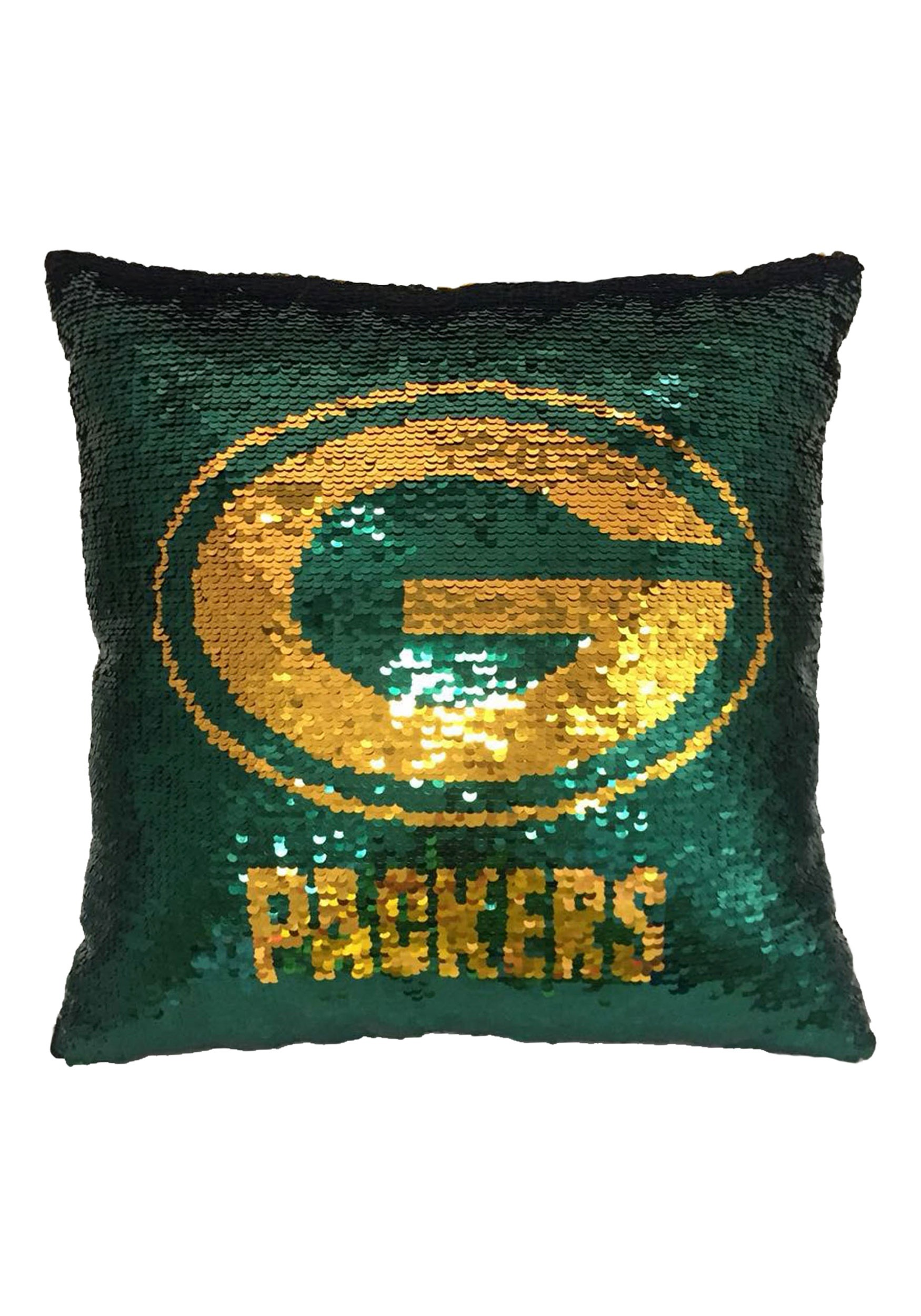 green bay packers sequin pillow with team logo