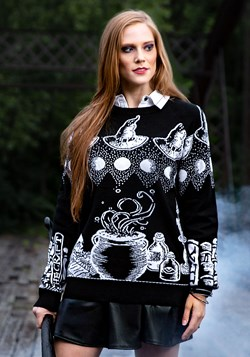 Adult Witch Spellcraft and Curios Ugly Halloween Sweater 1