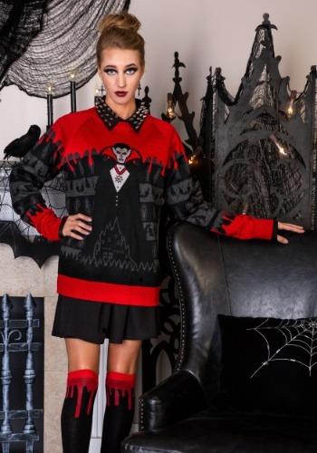Adult Dracula Vampire Ugly Halloween Sweater Main Update1