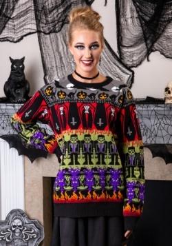 Classic Horror Monsters Fair Isle Adult Halloween Sweater Al