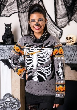 Adult Ripped Open Skeleton Ugly Halloween Sweater Update1 Ma