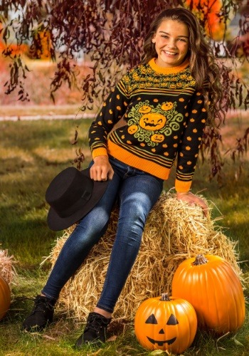 Child Pumpkin Patch Ugly Halloween Sweater Update Main