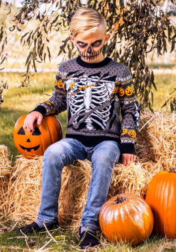 Child Ripped Open Skeleton Ugly Halloween Sweater Update Mai