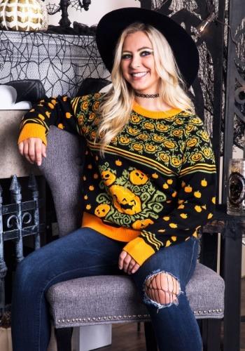Adult Pumpkin Patch Ugly Halloween Sweater Update1 Main