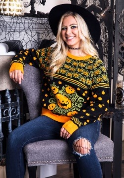 Adult Pumpkin Patch Ugly Halloween Sweater Update1 Main