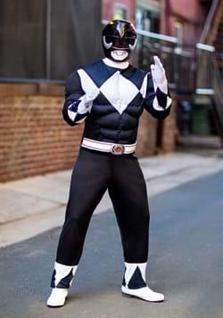 Adult Power Rangers Black Ranger Muscle Costume Update