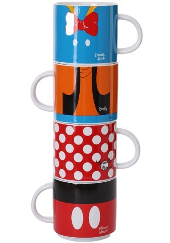 Disney Mickey and Friends 4 piece Stacking Ceramic Mugs