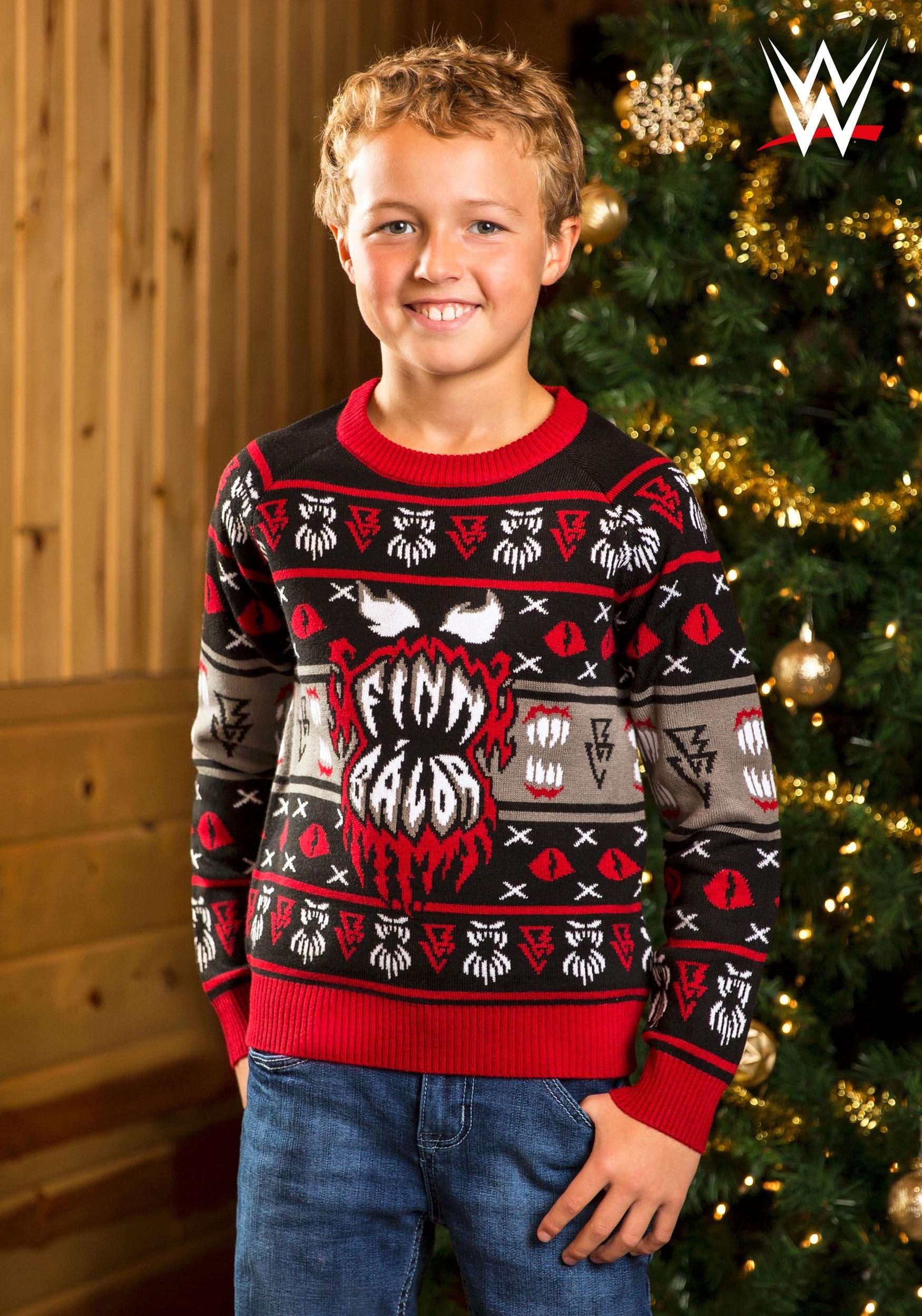 Ugly Christmas Sweater Kids.Child Wwe Finn Balor Ugly Christmas Sweater