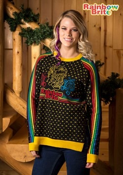 Women's Hi-Lo Rainbow Brite Ugly Christmas Sweater Update Ma
