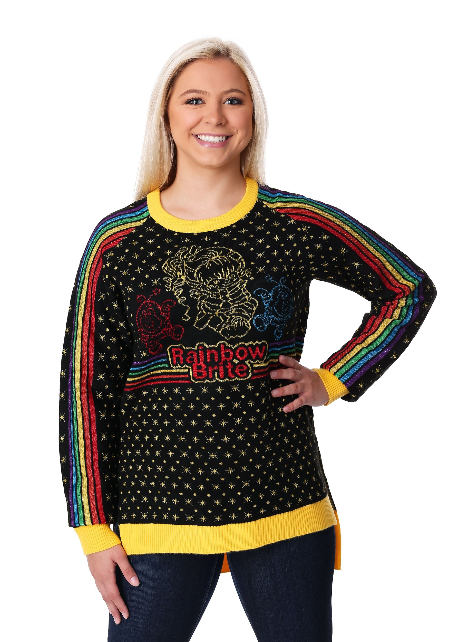 Hi Lo Rainbow Brite Womens Ugly Christmas Sweater