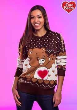 Adult Tenderheart Bear Care Bears Ugly Christmas Sweater Upd