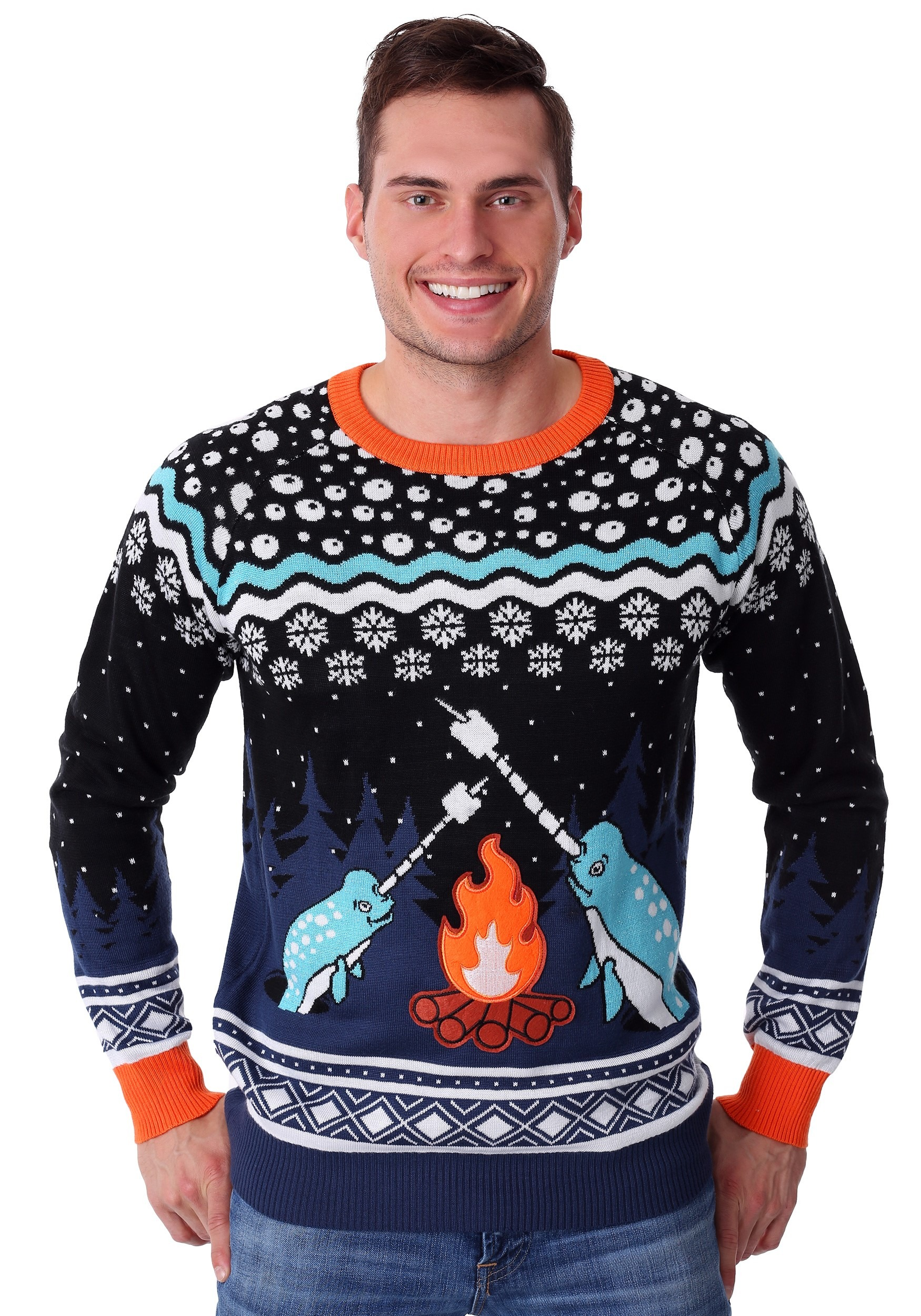 Ugliest Christmas Sweater.Adult Narwhal Ugly Christmas Sweater