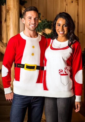 Adult Two Person Mr. & Mrs. Claus Ugly Christmas Sweater upd