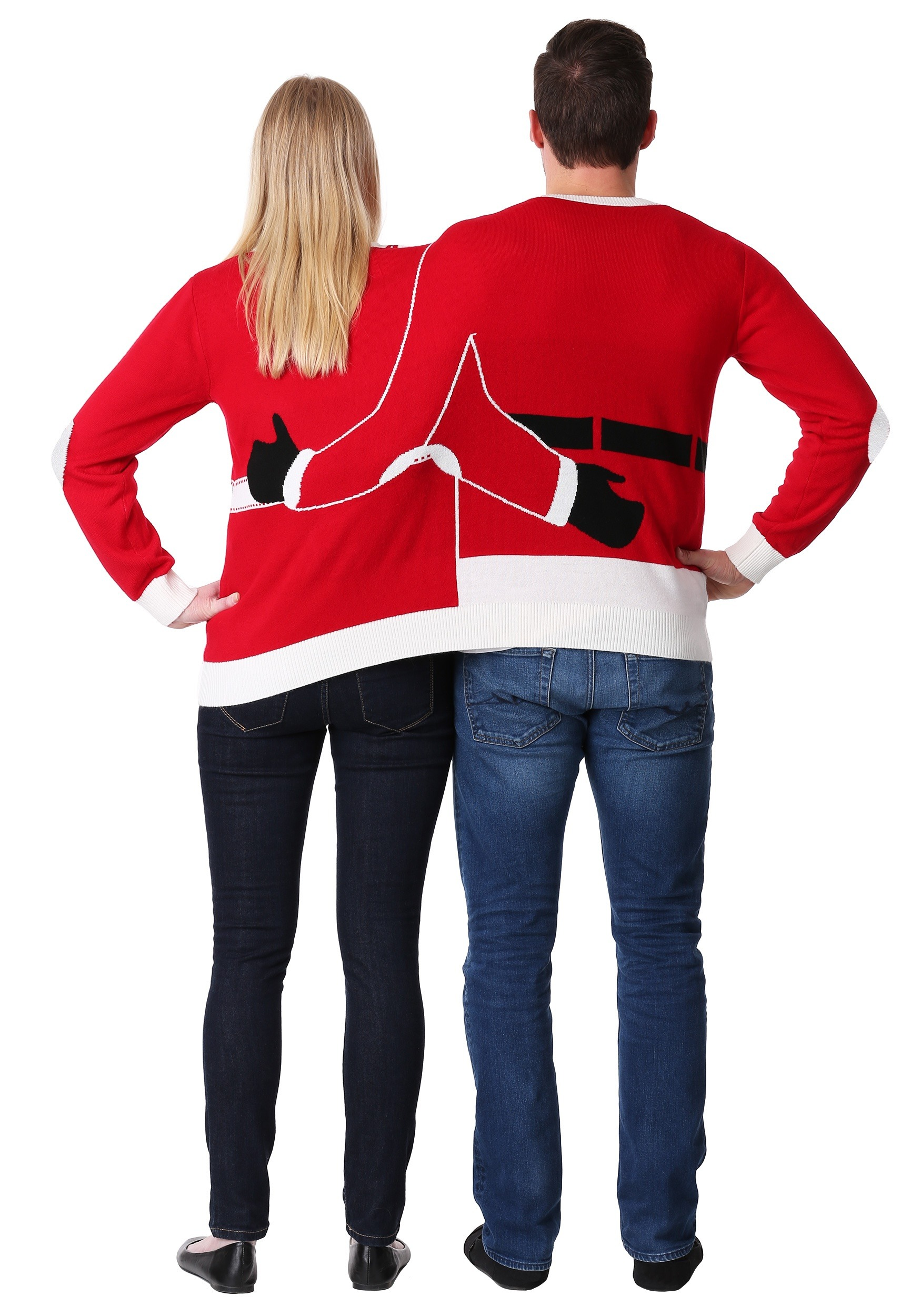 2 Person Christmas Sweater.Adult Two Person Mr Mrs Claus Ugly Christmas Sweater
