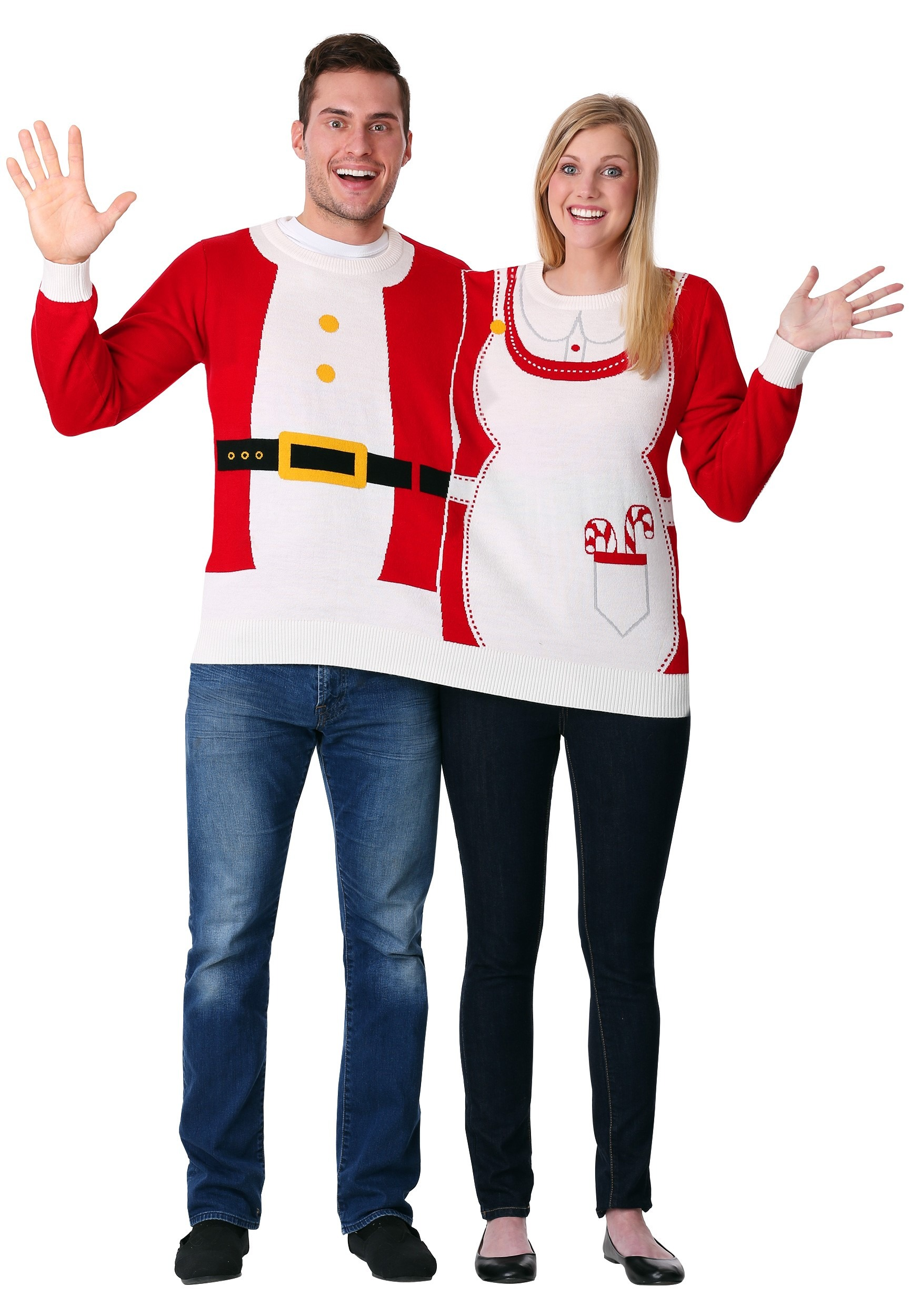 Adult two person mr mrs claus ugly christmas sweater az
