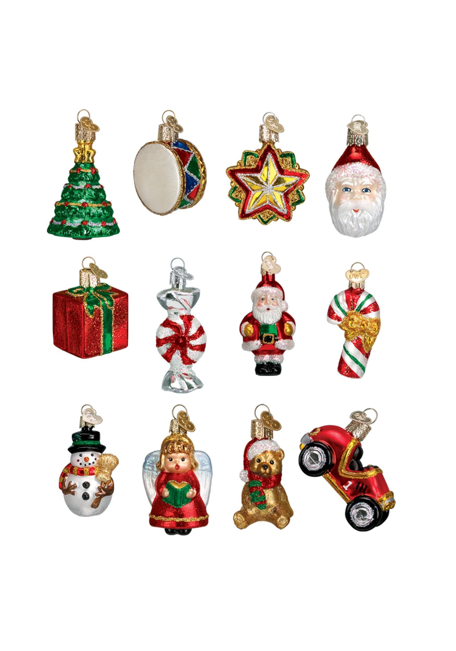 Christmas Ornament Set.12 Piece Miniature Christmas Glass Ornament Set
