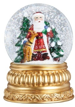 Nordic Santa Snow Globe with Antique Gold Finish Base