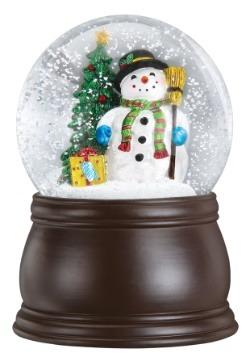 Gleeful Snowman Snow Globe with Blower Wood Finish