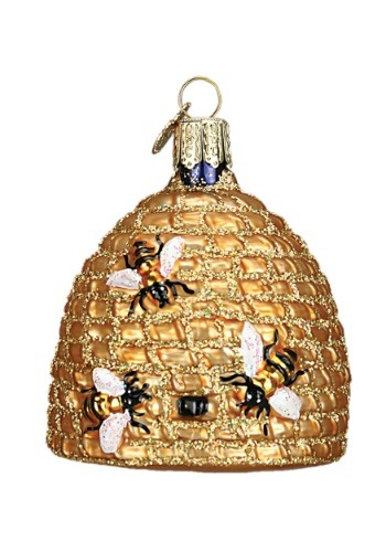 Bee Hive Glass Ornament